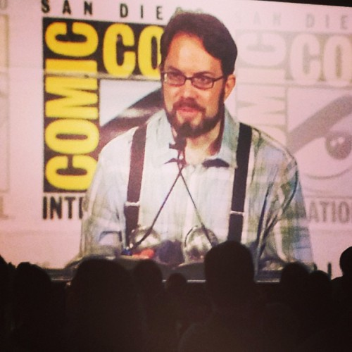 David Lasky Accepting the Eisner Award. Photo by Jacq Cohen