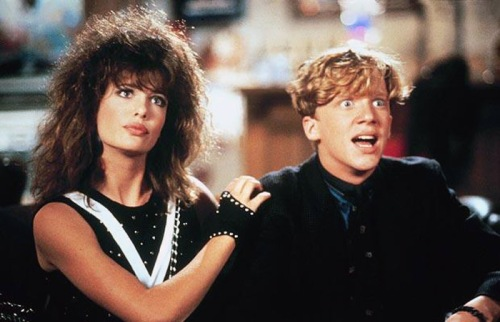 Kelly LeBrock and Anthony Michael Hall in WEIRD SCIENCE