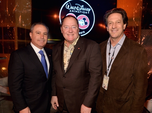 BURBANK, CA - DECEMBER 10: (L-R) President, The Walt Disney Studios Alan Bergman, executive director John Lasseter and General Manager, Walt Disney Animation Studios Andrew Millstein attend the 90 Years of Disney Animation celebration at Walt Disney Studios on December 10, 2013 in Burbank, California.  (Photo by Alberto E. Rodriguez/Getty Images for Disney Animation) *** Local Caption *** Alan Bergman; John Lasseter; Andrew Millstein