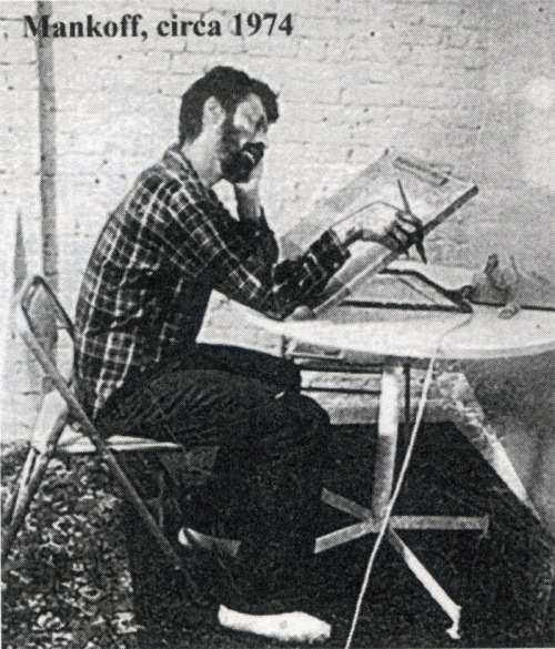Bob Mankoff, a cartoonist at work, circa 1974