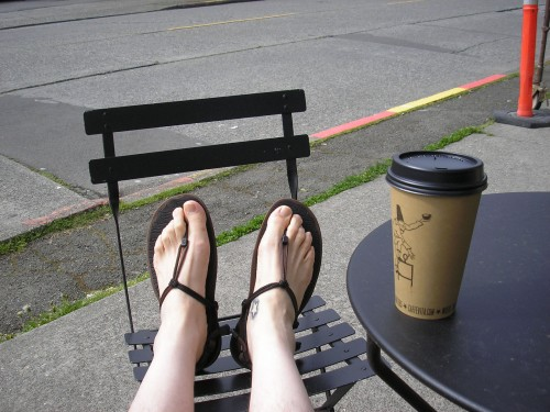 Enjoying a mocha at Caffe Vita in Seattle with my Xero Shoes Amuri Cloud sandals.