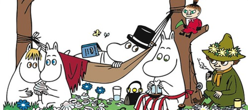 Most of the major Moomins, from left to right: the Snork maiden, Moomintroll, Moominpappa (in hammock with top hat), Moominmamma, Little My and Snufkin.