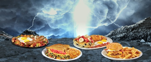 Denny's Slamtastic menu: Human Torch Skillet, Fantastic Four-Cheese Omelette, Invisible Woman Slam, and The Thing Burger