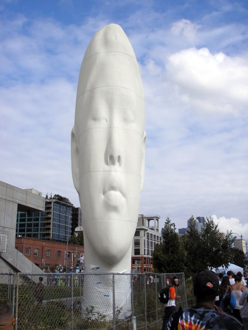 """Echo,"" by Jaume Plensa, the latest addition to the SAM sculpture garden, resides over Hempfest."