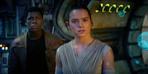 Finn (John Boyega)  and Rey (Daisy Ridley) in Star Wars: The Force Awakens