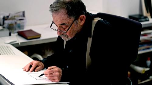 Seymour Chwast, at work, 2016