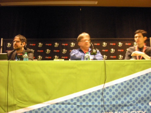 Moderator Rob Salkowitz, Greg Hatcher, and Dan Schkade
