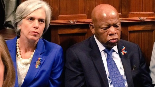 Rep. Katherine Clark teamed up with Rep. John Lewis for the sit-in.	–Katherine Clark / Twitter