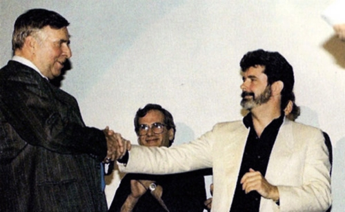 Gene Roddenberry meets George Lucas, 1987, the 10th anniversary of Star Wars