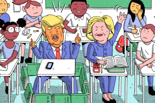 """Did Trump and Clinton Get a Pass on Education?"" illustration for The New Yorker by Wren McDonald"