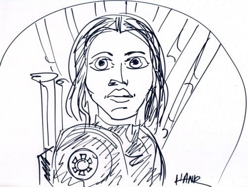 Felicity Jones as Jyn Erso. Illustration by Henry Chamberlain.