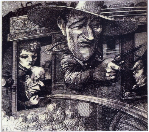 """Stagecoach."" 1980 illustration for Esquire magazine."