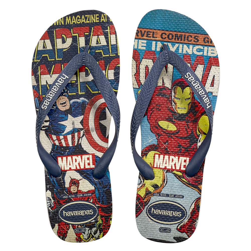 d2336d9aa57b A Captain America   Iron Man adult style from the Marvel x Havaianas  collection. Courtesy of brand.